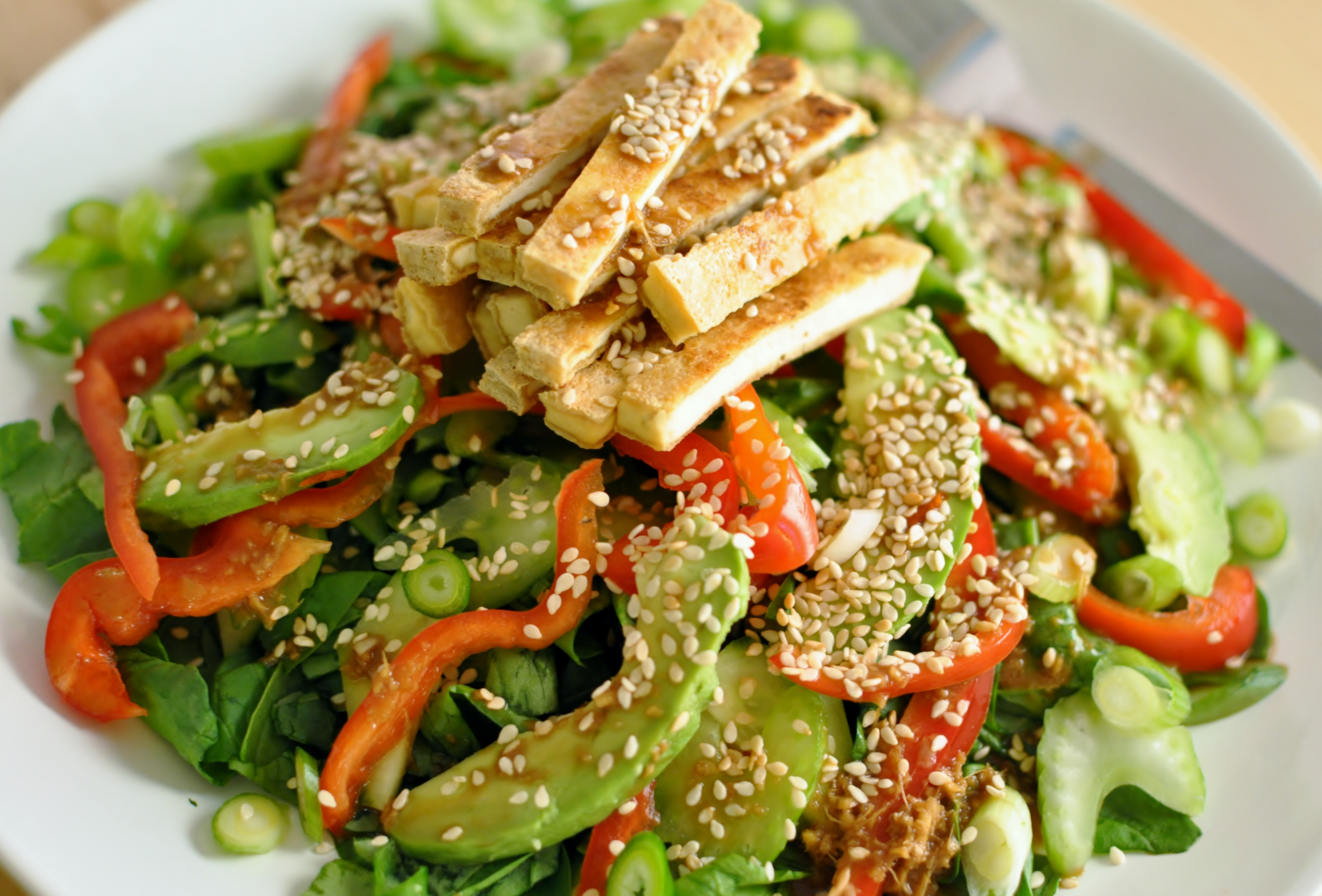 White Tofu, Sesame, And Vegetable Salad Recipe — Dishmaps