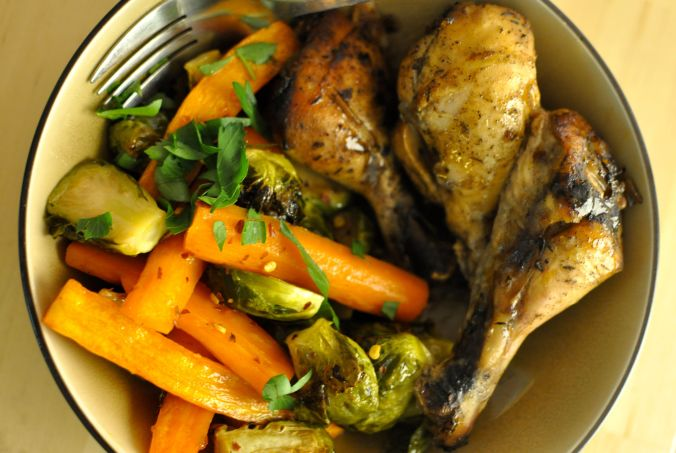 carrots brussels sprouts chicken