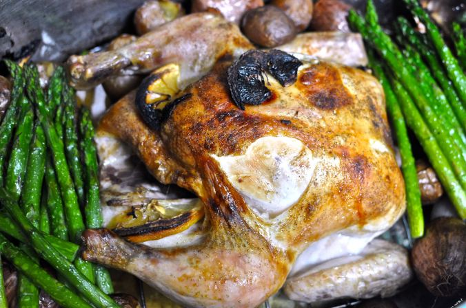 Roast Chicken with Asparagus