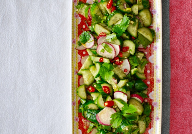 Rectangular plate with cucumber, radish, and chilies garnished with cilantro. On a white, slate, and red tablecloth.